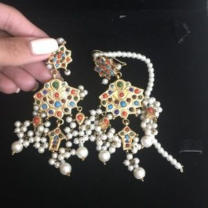 INDIAN BRIDAL KUNDAN PEARL STONE EARRINGS JHOOMKAY
